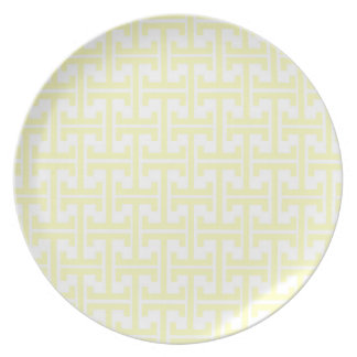 Pastel Yellow and White Retro Pattern Dinner Plates