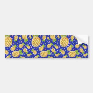 Pastel Yellow Blue Pineapple Pattern Bumper Sticker