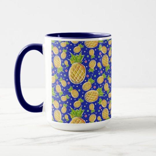 Pastel Yellow Blue Pineapple Pattern Mug