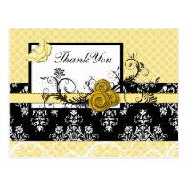 pastel yellow damask polka dots Thank you Postcard