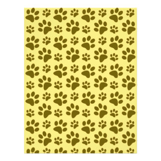 Pastel yellow dog paw print pattern full color flyer