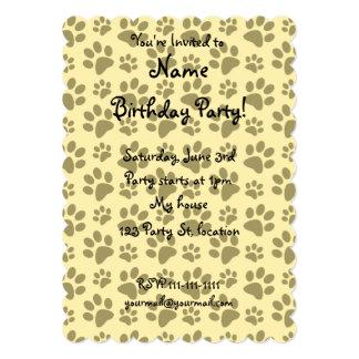 Pastel yellow dog paw print pattern 5x7 paper invitation card
