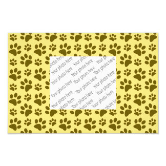 Pastel yellow dog paw print pattern photo print