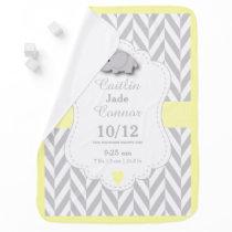 Pastel Yellow Elephant Birth Keepsake Design Swaddle Blanket