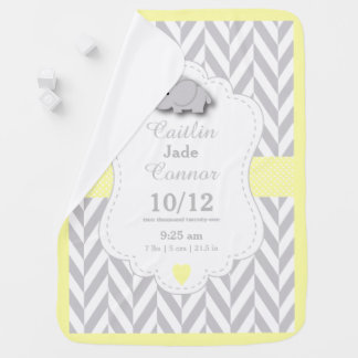 Pastel Yellow Elephant Birth Keepsake Design Swaddle Blanket