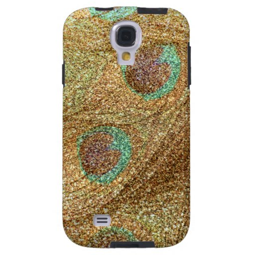 Pastel yellow glitter peacock feathers galaxy s4 case