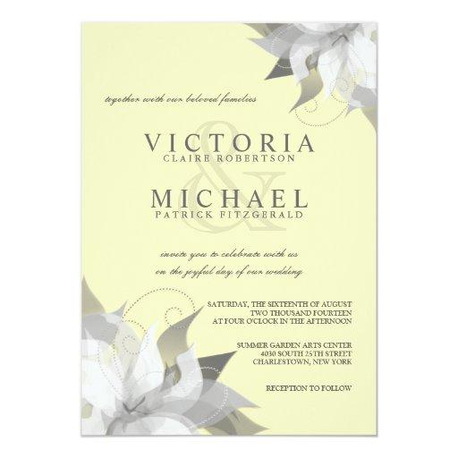 Pastel Yellow Gray Floral Wedding Invitations