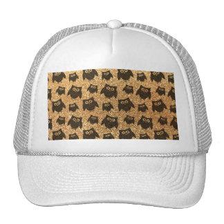 Pastel yellow owl glitter pattern hat