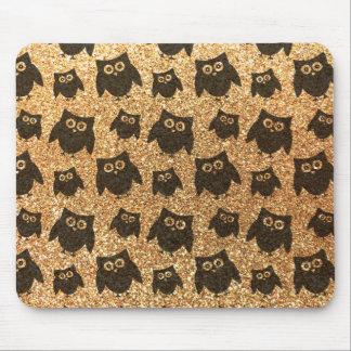 Pastel yellow owl glitter pattern mousepad