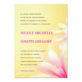 Pastel Yellow Pink Floral Wedding Invitations