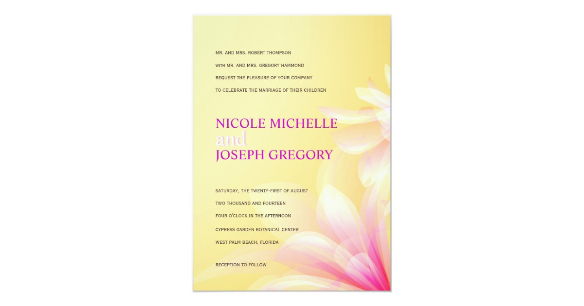 wedding invitations yellow and pink - 28 images - pink yellow ...