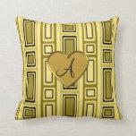 Pastel yellow retro squares monogram throw pillow