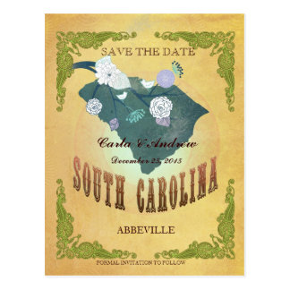Pastel Yellow  Save The Date -Map With Lovely Bird Postcard