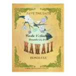 Pastel Yellow Save The Date -Map With Lovely Birds Postcards