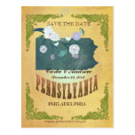 Pastel Yellow  Save The Date-Map With Lovely Birds Post Card