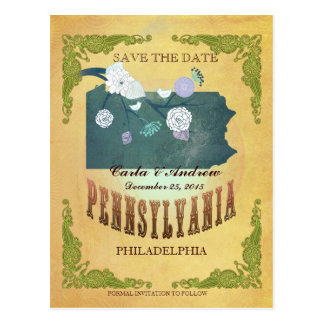 Pastel Yellow  Save The Date-Map With Lovely Birds Postcard