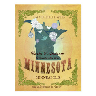 Pastel Yellow Save The Date -Map With Lovely Birds Postcard