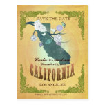 Pastel Yellow Save The Date -Map With Lovely Birds Post Cards