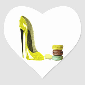 Pastel Yellow Stiletto and French Macaroons Art Heart Sticker