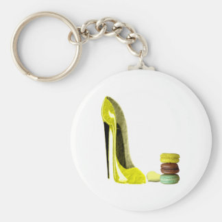 Pastel Yellow Stiletto and French Macaroons Art Key Chains