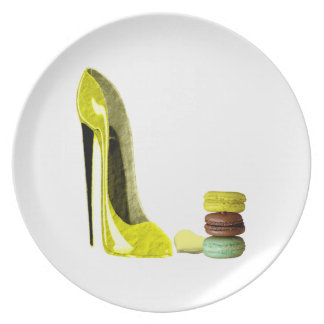 Pastel Yellow Stiletto and French Macaroons Art Dinner Plate