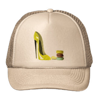 Pastel Yellow Stiletto and French Macaroons Art Trucker Hat