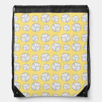 Pastel Yellow volleyball pattern Drawstring Bag