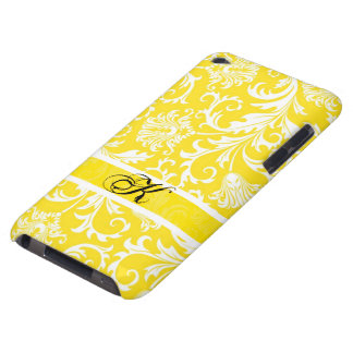 Pastel Yellow & White Floral Damasks Customized iPod Case-Mate Cases