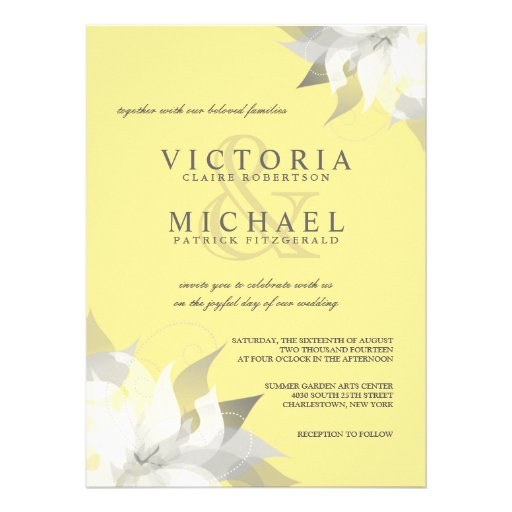 "Pastel Yellow White Floral Wedding Invitations 5.5"" X 7.5"