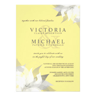 Pastel Yellow White Floral Wedding Invitations