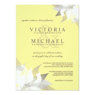 Pastel Yellow White Floral Wedding Invitations