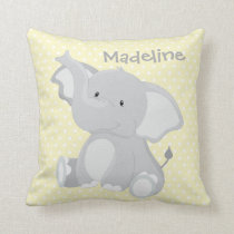 Pastel Yellow-White PolkaDots•Baby Elephant•Custom Throw Pillow