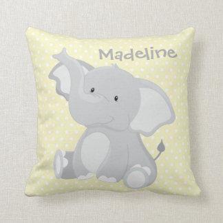 Pastel Yellow-White PolkaDots•Baby Elephant•Custom Throw Pillow
