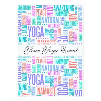 Pastel Yoga Word Cloud Elegant Pattern Card