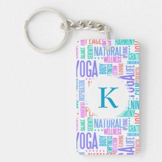 Pastel Yoga Word Cloud Elegant Pattern Keychain
