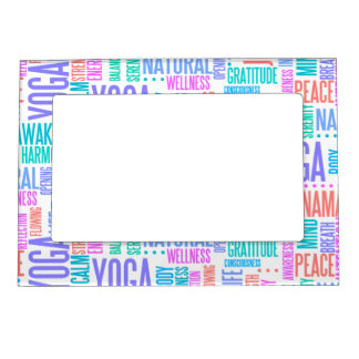 Pastel Yoga Word Cloud Elegant Pattern Magnetic Picture Frame