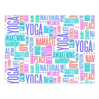 Pastel Yoga Word Cloud Elegant Pattern Postcard