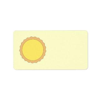 Pasteles de la tarta del limón. Amarillo soleado Etiquetas De Dirección