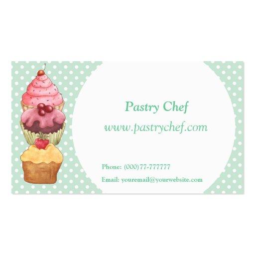Pasteles de la torta de la magdalena tarjetas de visita