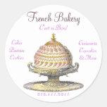 Pasteles franceses del vintage elegante: Panadería Pegatinas Redondas