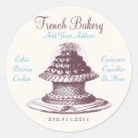 Pasteles franceses del vintage elegante: Panadería Pegatina Redonda