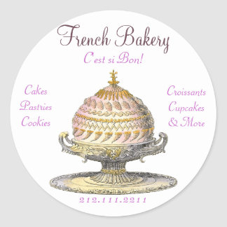 Pasteles franceses del vintage elegante: pegatinas redondas