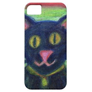 Pasteles lindos del aceite del gato negro en iPhone 5 funda