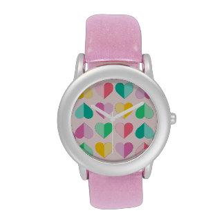 Pasteles multi de los amores en rosa relojes de pulsera