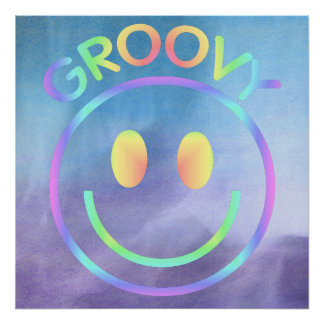 Pasteles sonrientes retros maravillosos de la púrp póster
