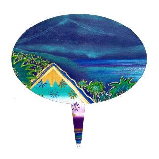 Pastell-Collage-Design Paradise Island Tortenpicker