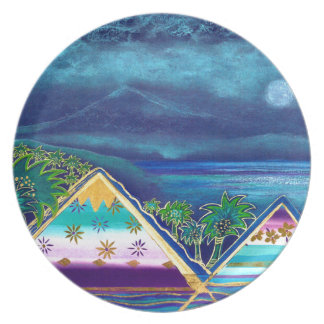 Pastell-Collage-Design Paradise Island Flache Teller