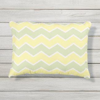 Pastell Green Yellow Lemon Chevron Pattern Zig Zag Outdoor Pillow