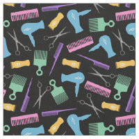 Pastels & Black Hair Tool Silhouette Pattern Fabric
