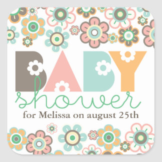 Pastels Daisies Flowers Blooms Baby Shower Gift Ta Square Sticker